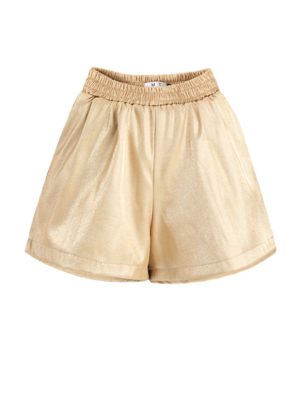 CASF Women's Loose Elastics Short Pants Casual Shorts Golden L