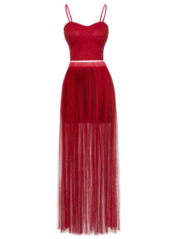 CASF Women's Sexy Transparent Length Tanktop Suit Dress Red XL