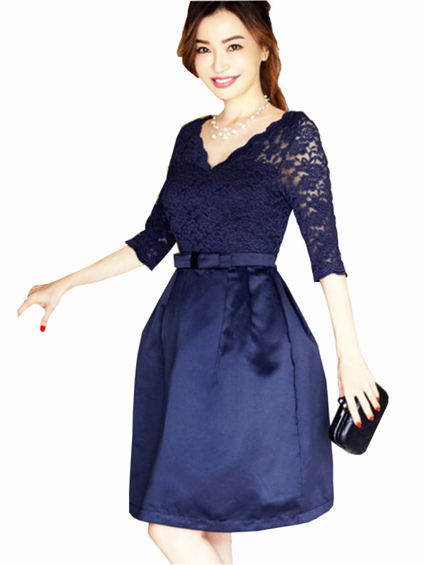 CASF Women's Summer Elegant Lace V-neckline Party Dress Royal blue XL
