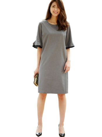 CASF Women's Summer Knee-Length Loose Sleeve Dress Gray L