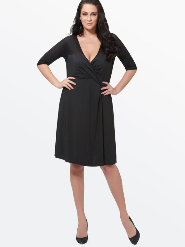 CASF Women's Summer Sexy V Neck Elegant Plus Size Day Dress Black XXXXL