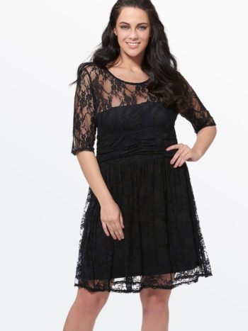 CASF Women's Summer Chiffon A-Line Lace Plus Size Day Dress Black 4XL