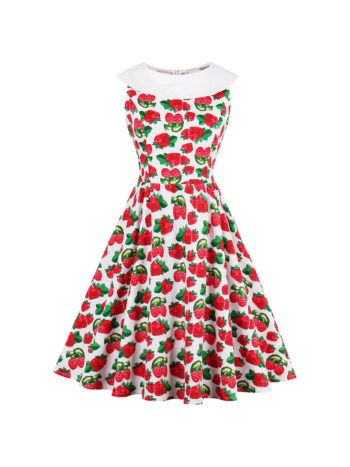 CASF Women's Summer Floral Elegant Sleeveless Party Dress Red S