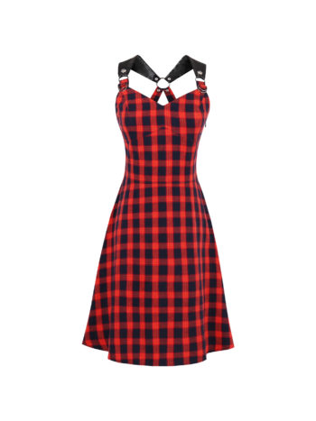 CASF Women's Summer Retro Plaid Patchwork Sleeveless Party Dress Red XXXL