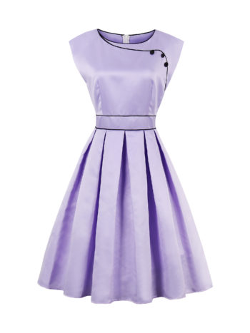 CASF Women's Summer Retro Elegant Sleeveless Party Dress Purple XXL