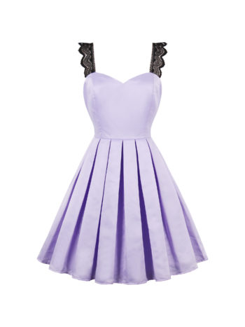 CASF Women's Summer Retro V Neck Elegant Sleeveless Party Dress Purple XXL