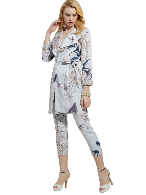 CASF Women's Summer Long Lapel Flower Print Elegant Trench Coat Gray XXL