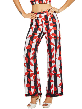 CASF Women's Summer Plant Printing Full Length Loose Pants Orange Red XXL